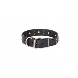 "Tan Leather Dog Collar adorable Style ""Magic Amulet"""