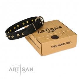 "Schwarzes Leder Hundehalsband ""Rhomb Style"" FDT Artisan"