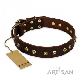 "Black Leather Dog Collar  ""Rhomb Style"" FDT Artisan"