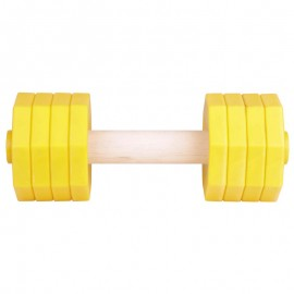 Wooden Dog Training Dumbbell with Yellow Weight Plates 650 gr