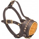 Nappa-Lined and Studded Leather Labrador Muzzle