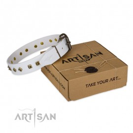 "Phantastic Leather DOog Collar in White ""Snow Cloud"" for  Labrador"