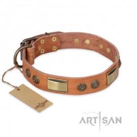 "Perfect Tan Leather Dog Collar  ""Stunning Dress"" FDT Artisan"