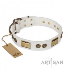 """Labrador original Leather Dog Collar """"Adorable Dream"""" FDT Artisan"""