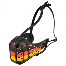 Leather Labrador Muzzle with the Flag of Germany