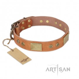 """Chic  Artisan Leather Dog Collar """"The Middle Ages"""" in natural colour for Labrador"""