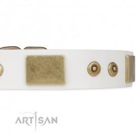 """Handarbeit Labrador Hundehalsband aus Leder in weiß """"Unforgettable Impress"""""""