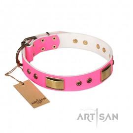 'Pink Daydream' FDT Artisan Pink Leather Dog Collar