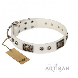 """Handcrafted Leather Dog Collar in White """"Terrific Beauty"""" for Labrador"""