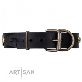 "Black ""Biker Style"" Leather Dog Collar  FDT Artisan for  Labrador"