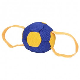 Soccer Ball Design French Linen Dog Bite Tug with Two Handles