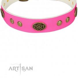 """Labrador Lederhalsband mit originellem Design """"Twinkle Pink"""""""