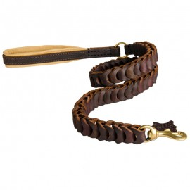 Dog Leather Lead with original braided Design