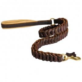 Lederleine mit originellem geflochtenen Design