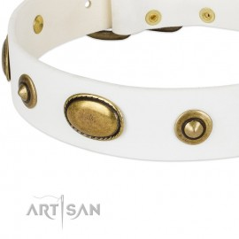 """White FDT Artisan Leather Dog Collar """"Unmatched Whiteness"""" for Labrador"""