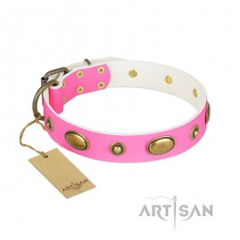 """Girly Leather Dog Collar for Labrador """"Beauty Queen"""""""