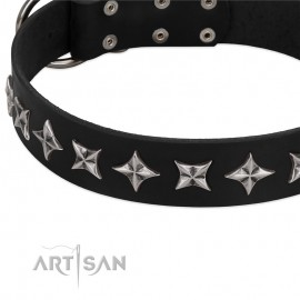 """Leather Dog Collar with Adornment """"Space Walk"""" FDT Artisan"""