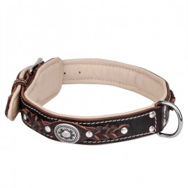 Ledernes Hundehalsband mit extrem-weicher Polsterung