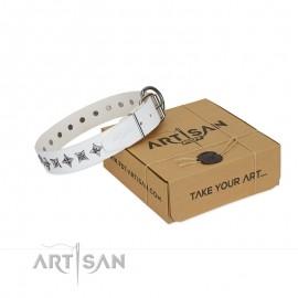 "White Leather Dog Collar for Labrador ""Midnight Stars"""