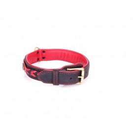 Braided Leather Dog Collar with Red Nappa Padding and Brass Decorations