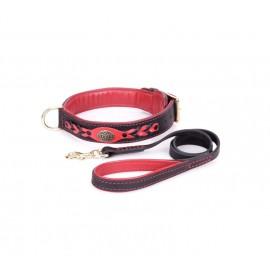 Exklusives Set aus Lederhalsband und Lederleine mit roter Polsterung