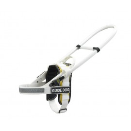 White Assistant Nylon Dog Harness with yellow padding for Guide Labrador