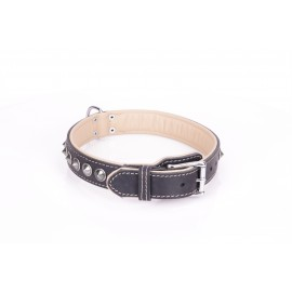 Handcrafted Black Leather Dog Collar with Chrome-plated Spikes