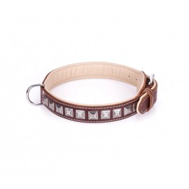 Handcrafted Brown Leather Dog Collar with Chrome-plated Studs
