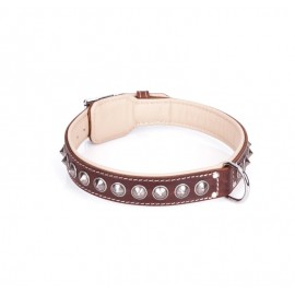 Handcrafted Brown Leather Dog Collar with Chrome-plated Spikes