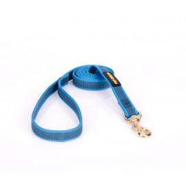 Gummierte Nylon Hundeleine in Blau