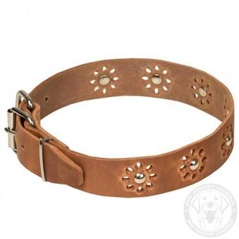 Exklusives Halsband aus Leder für Labrador Handarbeit