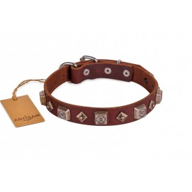 """""""Yellow Star"""" exclusiv  Leather Dog Collar with Stars by FDT Artisan"""