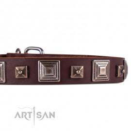 FDT Artisan Halsband aus Leder mit quadratischen Nieten  für Labrador