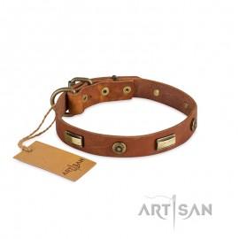Platten und Rundnieten Designer Lederhalsband von FDT Artisan 25 mm