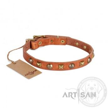 Messing Rhomben und Blumen-Nieten Lederhalsband 20 mm für Labrador