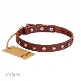 Designer Lederhalsband mit Rhomben und Sterne für Labrador