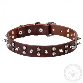 3 Rows Leather Dog Collar with Nickel Spikes