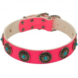 Pink Leather Collar with Blue Stones