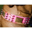 Rosa Designer Halsband aus Leder für Labrador, Stahl-Dekoration