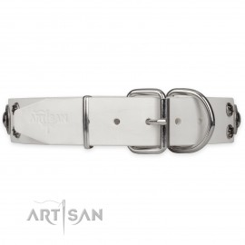 "Leather Dog Collar with Studs ""White Jewel"""