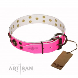 "Pink Letaher Dog Collar for Labrador ""Pink of Perfection"""