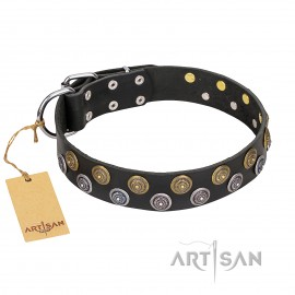 "Black Leather Dog Collar with Circles ""Romantic Breeze"""