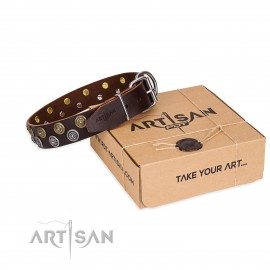 "Brown Artisan Leather Dog Collar ""Strong Shields"""