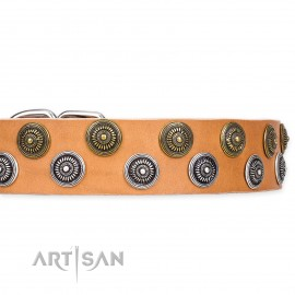 "Top class Leather Dog Collar ""Precious Sparkle"" by Artisan FDT"