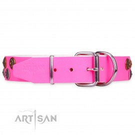 "Labrador Leather Dog Collar pink ""Glamour Finery"""