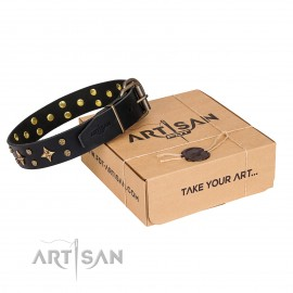 "FDT Artisan stylish Leather Dog Collar ""A La Mode"""