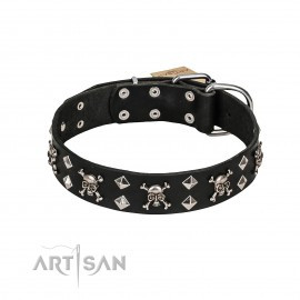 Rock 'n' Roll Style Leather Dog Collar  FDT Artisan