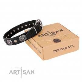 "Attractive FDT Artisan Leather Dog Collar ""Black Tie"" for Labrador"