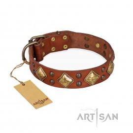 "Perfect FDT Artisan Tan Leather Dog Collar ""Flight of Fancy"" for Labrador"