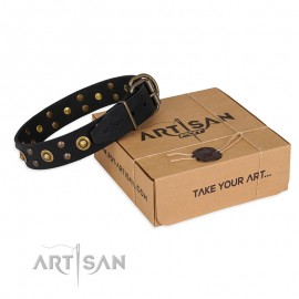 """Cosmic Glow"" Leather Dog Collar  Black for Labrador"
